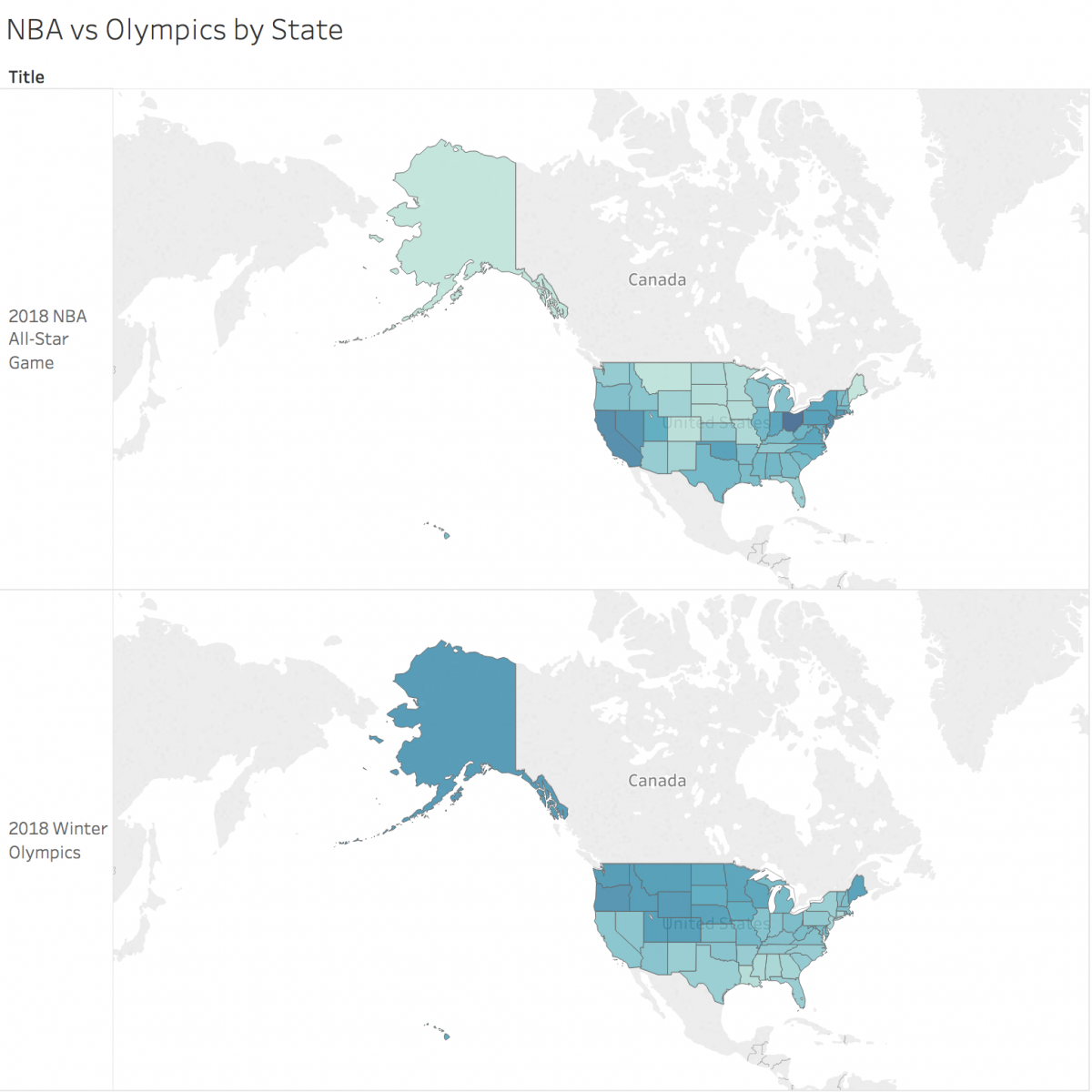 NBA v. Olympics viewership by state